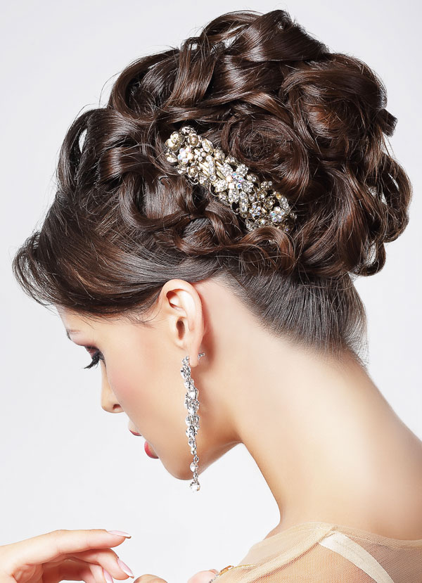 Brunette with Clasp in Hair Updo