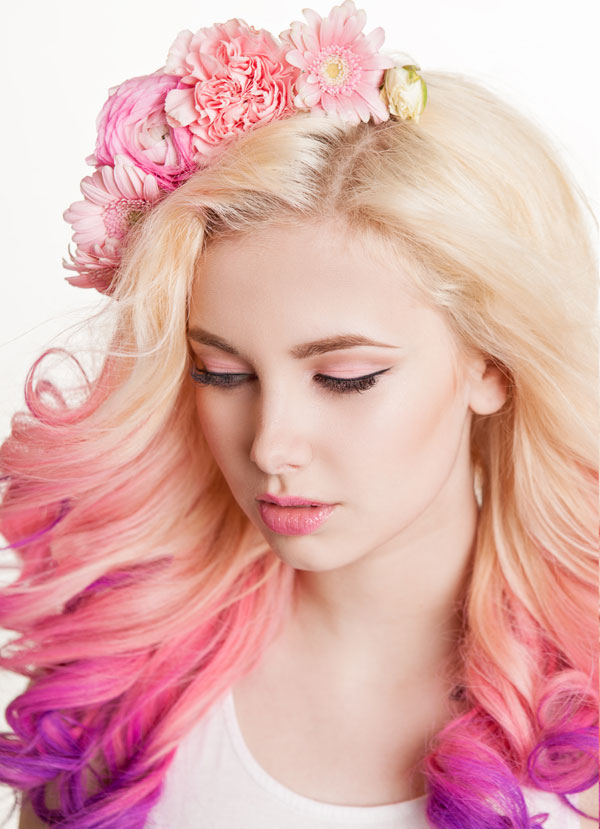 Long Blonde and Colorful Prom Do by Cuts N Stuff