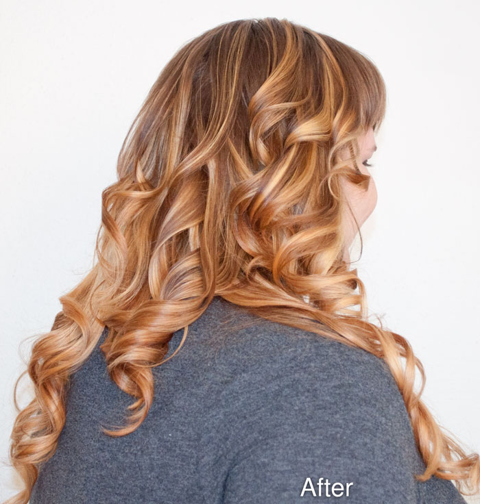 Erin's curls tumble down her back after hair make-over at Cuts N Stuff, New Florence, PA