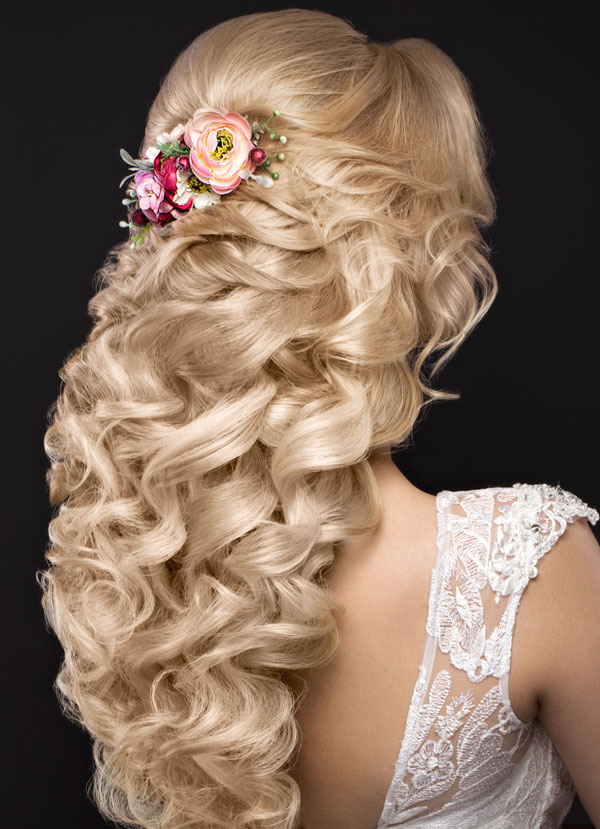 Bride with Long Blonde Curls by Cuts N Stuff
